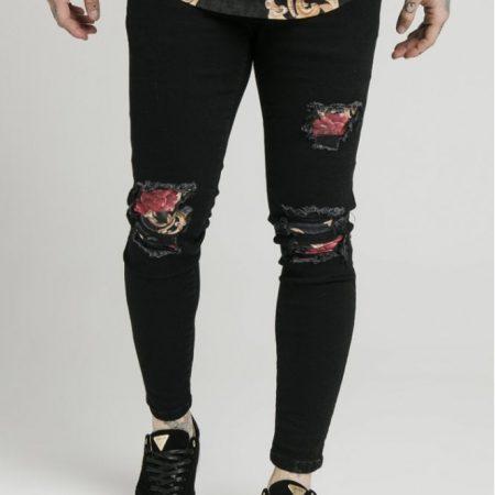 SikSilk x Dani Alves Skinny Floral Jeans Jet Black