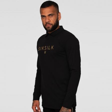 SikSilk X Dani Alves L/S Fitted Polo Black/Gold