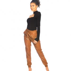 LA Sisters Faux Leather Jogging Pants Camel