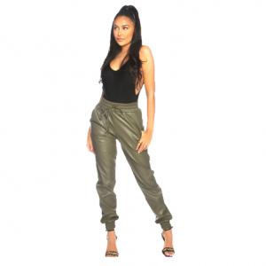 LA Sisters Faux Leather Jogging Pants Army