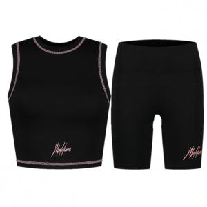 Malelions Crop Zomersetje Dames Black/Pink